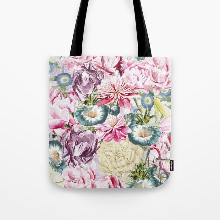 Vintage & Shabby chic -  Retro Spring Flower Pattern Tote Bag