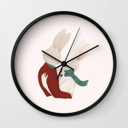 Couple of rabbits in love Wall Clock