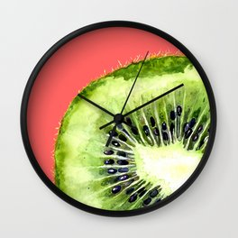 Kiwi on Coral Wall Clock