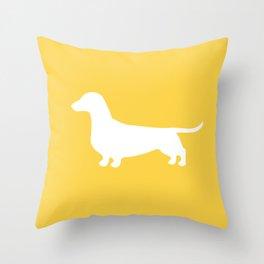 Dachshund (on Yellow) Throw Pillow