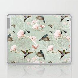 Vintage Watercolor hummingbird and Magnolia Flowers on mint Background Laptop & iPad Skin