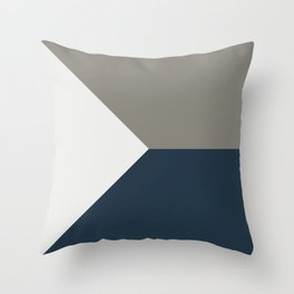Blue Grey White Abstract Geometric Art Throw Pillow
