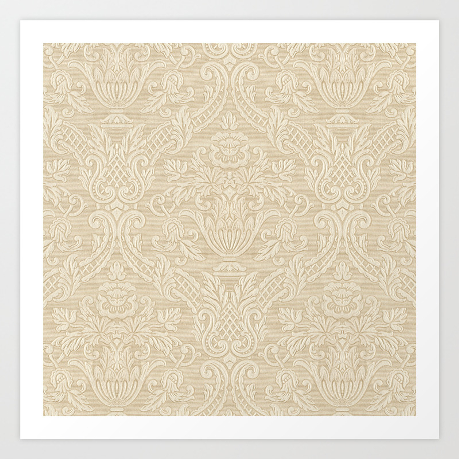 Vintage Wallpaper Pattern Beige Floral Elegant Damask Art Print By