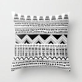 aztec tribal: black and white Throw Pillow