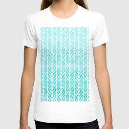 Handpainted Chevron pattern - small - light green and aqua teal T-shirt