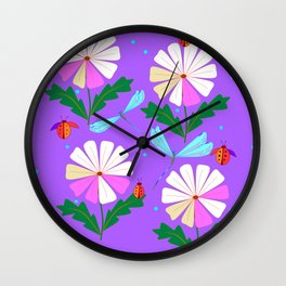 A Spring Rain on Daisies with Lady Bugs and Dragonflies Wall Clock