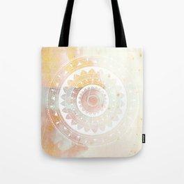Ukatasana white mandala on pink Tote Bag