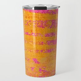 Orange & Hot Pink Abstract Art Collage Travel Mug