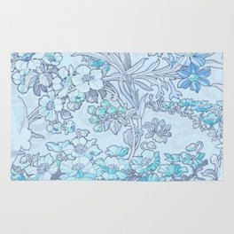"""Alphonse Mucha """"Anemones, Apple Blossoms and Narcissi"""" (edited blue) Rug"""
