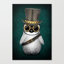 Steampunk Baby Penguin on Blue Canvas Print