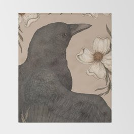 The Crow and Dogwoods Throw Blanket