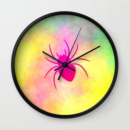 Pink spider under colorful clouds Wall Clock