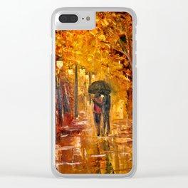 Les amoureux sous la pluie Clear iPhone Case