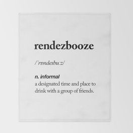 Rendezbooze black and white contemporary minimalism typography design home wall decor bedroom Throw Blanket