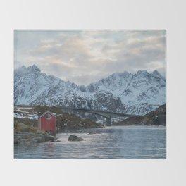 Lofoten winter Throw Blanket