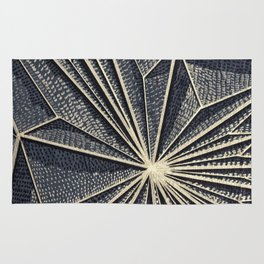 Geometric Pattern on Wood, Gold Lines, Rise Detail Rug