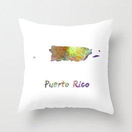 Puerto Rico  in watercolor Throw Pillow
