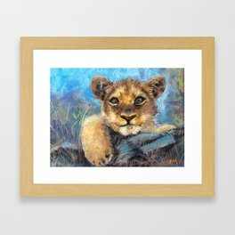eyes on you ,Young lion Framed Art Print