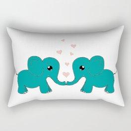 Elephants Couple in Love Art Rectangular Pillow
