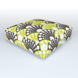 brown and lime art deco inspired fan pattern Outdoor Floor Cushion