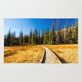 Wooden hiking trail in the forest Rug