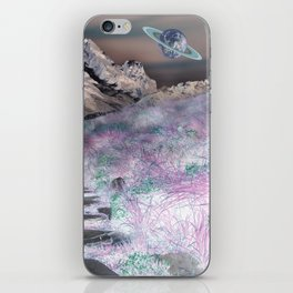Cobble Stone Road Through The Mountains Towards Saturn iPhone Skin