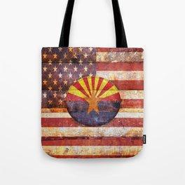 Arizona and USA flag on old wooden planks. Tote Bag