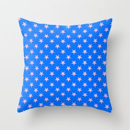 Cotton Candy Pink on Brandeis Blue Stars Throw Pillow