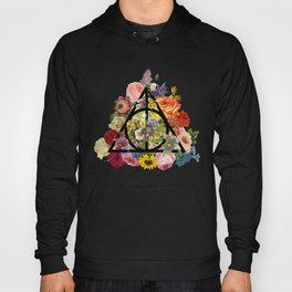 Floral Deathly Hallows - Black Hoody