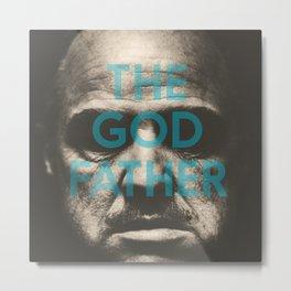 The Godfather, minimalist movie poster, Marlon Brando, Al Pacino, Francis Ford Coppola gangster film Metal Print