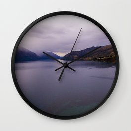Lake Hawea lake wakatipo blue crystal clear panorama Wall Clock