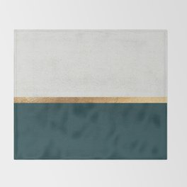 Deep Green, Gold and White Color Block Throw Blanket