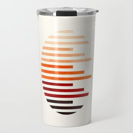 Mid Century Modern Minimalist Circle Round Photo Burnt Sienna Staggered Stripe Pattern Travel Mug