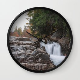 Rocky Gorge Waterfall in Autumn Wall Clock