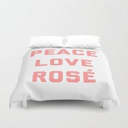 Peace Love Rosé Quote Duvet Cover