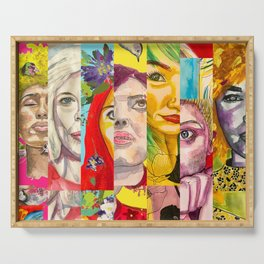 Female Faces Portrait Collage Design 1 Serving Tray
