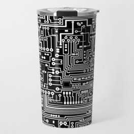 Circuit Board on Black Travel Mug