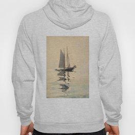 Vintage Schooner Sailboat Watercolor Painting (1894) Hoody