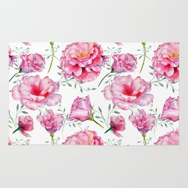 Blush pink green hand painted watercolor roses floral Rug