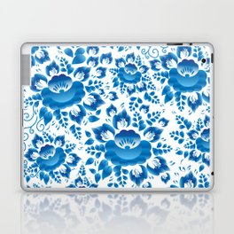 Vintage shabby Chic spring romantic pattern with sky blue flowers Laptop & iPad Skin