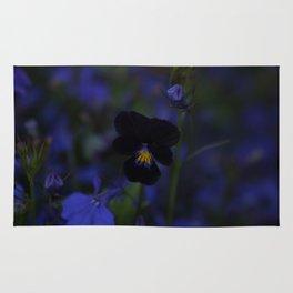 Black and Blue Flower Rug