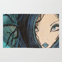 My Mermaid. Original Painting by Jodilynpaintings. Figurative Abstract Pop Art. Rug