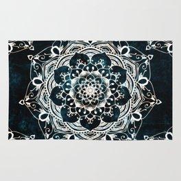 Glowing Spirit Mandala Blue White Rug