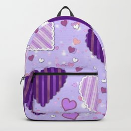 Purple Patchwork Hearts Backpack