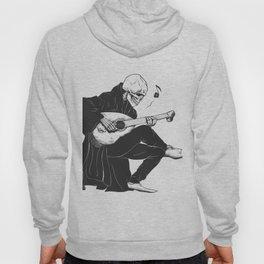 Minstrel playing guitar,grim reaper musician cartoon,gothic skull,medieval skeleton,death poet illus Hoody