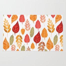 Painted Autumn Leaves Pattern Rug