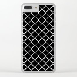 Black and White Moroccan Quatrefoil Clear iPhone Case