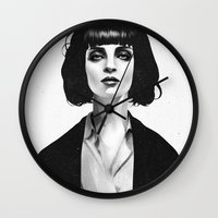 black Wall Clocks featuring Mrs Mia Wallace by Ruben Ireland