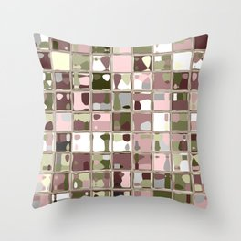 Pink Camo Mosaic Pattern Art Throw Pillow