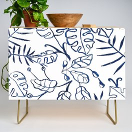 Tropical Plant Boho Chinoiserie Blue and White Credenza
